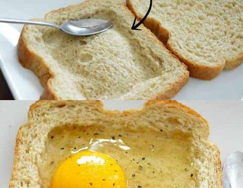 huevos ingeniosos en pan a desnivel